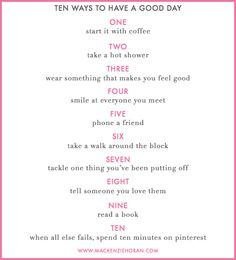 ten ways to have a good day