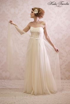 Exclusive wedding dress collection by Kula Tsurdiu. Luxurious silk, nottingham lace, made to measure