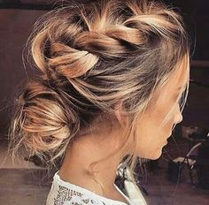Messy braided updo loose romantic