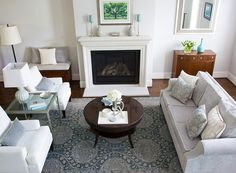 Living Room - Grey and white - Mixing Traditional Furniture and Modern Décor - A Townhome Makeover Cozy Living Rooms, Living Room Paint, Living Room Grey, Living Room Chairs, Living Room Furniture, Modern Traditional Decor, Living Room Decor Traditional, Traditional Furniture, Modern Decor