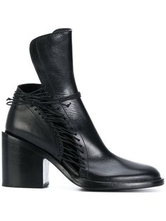 ANN DEMEULEMEESTER EXTENDED TONGUE ANKLE BOOTS.