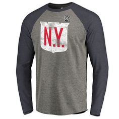 Men s New York Rangers Fanatics Branded Heather Gray 2018 NHL Winter Classic  Vintage Tri-Blend Long Sleeve Raglan T-Shirt 9793153b2