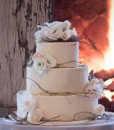 New Trends For Wedding Decorations | Classic with a twist wedding cake, Tri-tier round white wedding cake ...