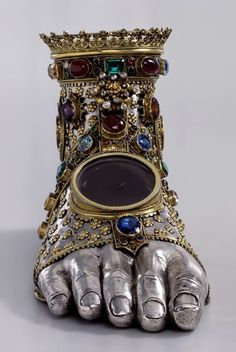 Foot reliquary, for relic of one of the Holy Innocents, ca. silver and Gold-plated copper; Basel Cathedral Treasury (The National Swiss Museum) Innocent Child, Medieval Art, Religious Art, Ancient Art, Oeuvre D'art, Renaissance, Celtic, Copper, Bronze