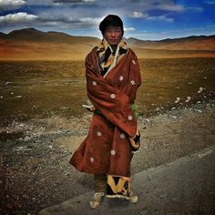The Young Tibetan Boy Traveling on the Qinghai, Tibet Plateau by Susan Myers, Qinghai, China, September 2012, iPhone 4