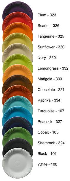 Fiesta® Dinnerware and Dishes, New and Retired Colors, Fiesta® made by Homer Laughlin China Company featured by DinnerwareUSA    http://www.dinnerwareusa.com/shop/handler~event~articleSelected~ca_id~29.htm#