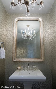 Rose Creek Reveal Office Powder Bath First Look Leopard Bathroom