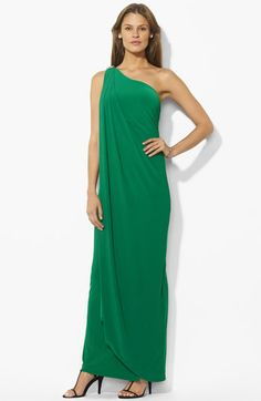 Total #emerald elegance in a Lauren Ralph Lauren one shoulder gown