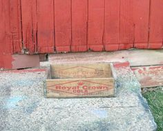 Vintage Royal Crown Cola Wood Crate, Marked On Ends Vernors RC Detroit,Soda,Distressed,Storage Crate by Incredibletreasures on Etsy