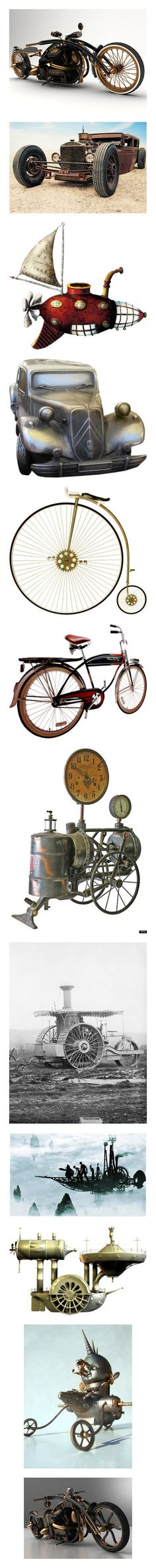 """""""Steampunk Vehicles"""" by synkopika ❤ liked on Polyvore featuring steampunk, motorcycles, vehicles, backgrounds, cars, transportation, vintage, bikes, transport and home"""
