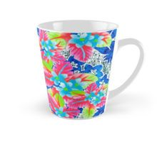 Kissing in Kona Large Mug by Polka Dot Studio, new, #retro #tropical #Hawaiian #floral #jungle #airbrushed and #digital #art in bright fun #home and #office #decor. Great for the #office, #coffee drinkers who prefer a large jolt, #gifts and #collectibles.