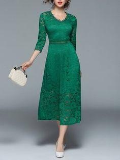 Elegant V neck A-line Lace Midi Dress