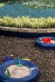 Use recycled tires for a sandbox