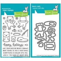Lawn Fawn SET LF17SETBH BEARY HAPPY HOLIDAYS Clear Stamps and Dies