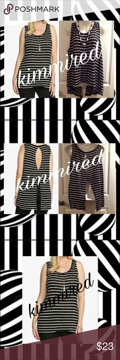 ToRRiD Stripe Sleeveless Open-Back Top ~ 3️⃣/3X I just love anything black & white. I stumbled upon these beauties & talked myself into letting them go. Very cute and in excellent used condition. Please view all pics as they're used to help me describe my item. Any shadows you see are of my iPad.   Necklace is ❌NOT❌included‼️  🚫🚭 No smoking 🚫🚭 🚫🐶🐱 No pets 🚫🐶🐱 torrid Tops
