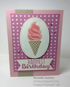 Shell Stamps - Used Stampin' Up! Cool Treats from the 2017 Occasions catalog, Stitched Dies and Painter's Palette dsp.  Please see my blog for further details: http://shellsq.blogspot.com/2016/11/ice-cream-ice-cream.html