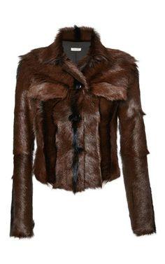 Brown Kid Goat Fur Jacket by Nina Ricci for Preorder on Moda Operandi