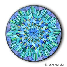 Stained Glass Mosaic Mandala by Kasia Mosaics Visit www.kasiamosaics.com to purchase a template/substrate kit or to sing up for an Online Class