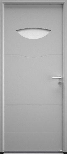 Modèle Orion Porte d'entrée aluminium contemporaine petit vitrage Porte avec oculus affleurant, laissant entrer la lumière dans votre maison. Panneau rainuré à lignes horizontales.