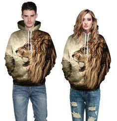 Autumn Winter Lion Hoodie Pullover