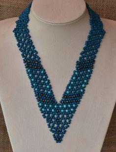 Blue V Necklace Beading Pattern by Cecilia Rooke at Sova-Enterprises.com