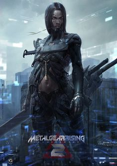 Metal Gear Rising by Deryl Braun Cyberpunk Girl, Arte Cyberpunk, Cyberpunk Character, Cyberpunk 2077, Fantasy Warrior, Sci Fi Fantasy, Fantasy Girl, Dark Fantasy, Cry Anime