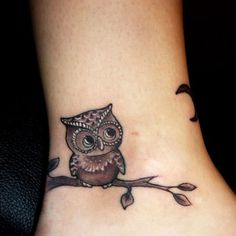 Owl, ankle tattoo