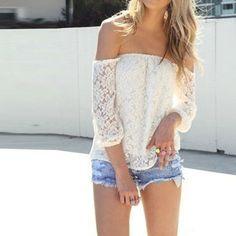 New Fashion Women Ladies Summer Blouses Elegant Lace 3/4 Sleeve Slash Neck Casual White Blusas Shirt Tops Plus Size S-XXL