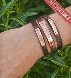 Custom Name Leather Triple Wrap Bracelet - get the names of up to three children on the top!