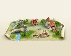 Love Details! Little town by Anton Egorov, via Behance