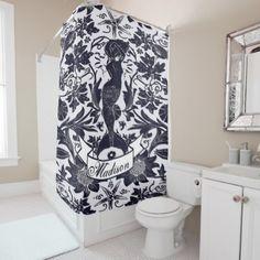 #black - #Art Nouveau Vintage Beautiful Mermaid Personalized Shower Curtain