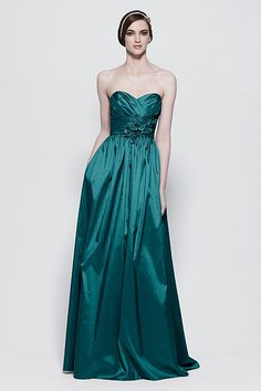 Foliage Luminescent Taffeta floor length dress with pleated bodice, shirred empire band with flower pin and full skirt. $244