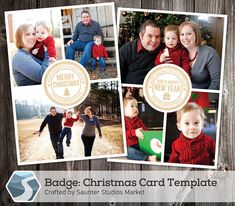 Christmas Card Template: Badge - 5x7 Photoshop Template by SaunterStudios, $8.00