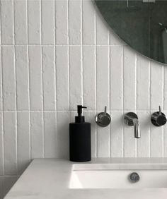 Rectangle Tiles - Shop Now, Pay Later with Afterpay - Tile Cloud Bathroom Splashback, White Subway Tile Bathroom, Blue Subway Tile, Bathroom Wall, Bathroom Interior, Modern Bathroom, Concrete Look Tile, Marble Look Tile, Nook