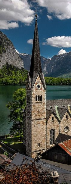 church steeple in Hallstatt, Austria Beautiful Places In The World, Places Around The World, The Places Youll Go, Travel Around The World, Great Places, Places To See, Around The Worlds, Austria Travel, Chapelle