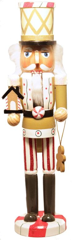 Candy Man Holding Gingerbread Man and House 15 Inch Wooden Christmas Nutcracker