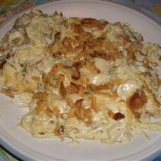 Easy Turkey Tetrazzini - Will work with turkey, rotisserie chicken, or canned tuna.  Use 2 cans of soup and add about 1/3 cup of milk plus peas or broccoli.  Light sour cream tasted fine.  If have time saute onions (+|-fresh garlic) before adding other ingredients.  The parmasean cheese tasted great but can delete to save $ or calories and it will taste good.