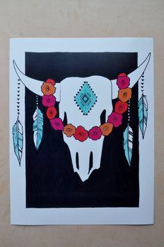 SKULL// boho art print/ / dorm decoration/ by StudioSpiritYSol, $10.00