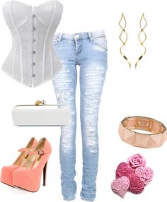 """Conjunto Corpete branco"" by byprika on Polyvore"