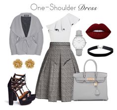 """""""One- shoulder"""" by fashion-beauty99 ❤ liked on Polyvore featuring Lisa Marie Fernandez, Rumour London, Aquazzura, Hermès, Balmain, Miriam Haskell, Topshop, Miss Selfridge and Lime Crime"""