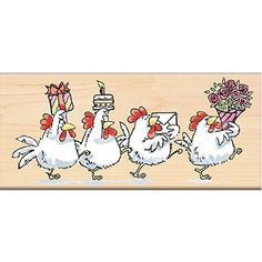 Shop for Penny Black Mounted Rubber Stamp - Cluck Cluck Cluck! Chicken Painting, Chicken Art, Cartoon Chicken, Chickens And Roosters, Wood Stamp, Flower Stamp, Watercolor Cards, Birthday Greetings, Cartoon Drawings