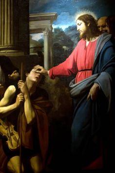 Jesus healing the blind man.