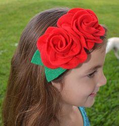 Felt Flower Headband  Girls Headband  Red by ChinichiniBangBang, $10.00