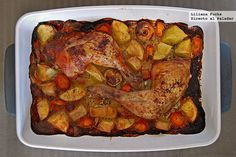 Pollo asado macerado en leche con patatas. Receta