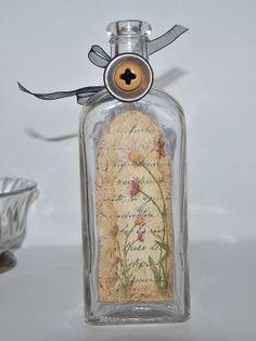Items similar to Altered Bottle / Bud Vase / Old Medicine Bottle on Etsy Altered Bottles, Antique Bottles, Bottles And Jars, Glass Bottles, Perfume Bottles, Old Medicine Bottles, Wise Women, Kitchen Witch, Vintage Labels