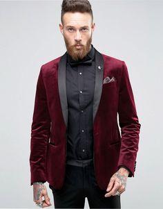 ASOS | ASOS Skinny Blazer In Burgundy Velvet