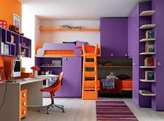 Cool Girls Bedroom Decoration With Orange Bed Beside Purple Cabinet Plus Striped Rug On Wooden Floor Including Also Study Table Under Purple Bookcase On The Wall Girls Bedroom Decoration; Creating Comfort for Your Growing Child Bedroom design
