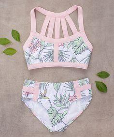 Joyfolie Pink & Green Coral Bikini - Toddler & Girls | zulily