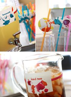 Cute paint spatter straws (could get child involved by spattering paint on cardboard which could be used by cutting and using for signs, labels etc at party)
