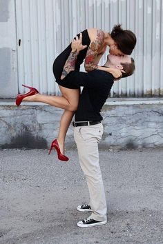 Awww inked couple in love. And did you see thoses heels! Think we could pull this pose off? Couple Photography, Engagement Photography, Tattooed Couples Photography, Wedding Photography, Photo Couple, Couple Photos, Couple Ideas, Tattoo For Boyfriend, The Kiss